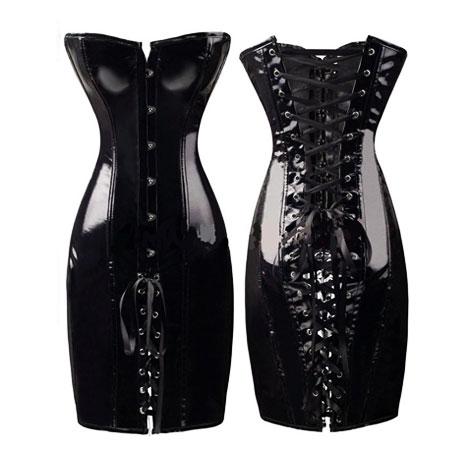 latex corset dress black 3
