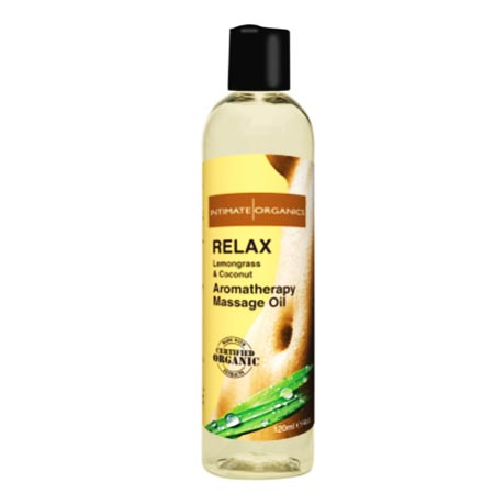 relax lemongrass coconut massage oil intimate organics 3